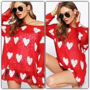 Be Mine Distressed Heart Sweater